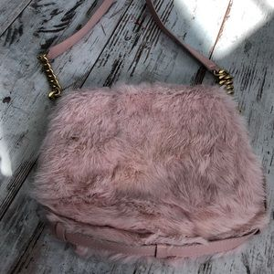 JC rabbit fur pink flap shoulder bag w/ leather